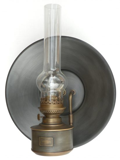 "#20 Matador Gold Pan Reflector, Brass Steel Patina - 18"" Height"