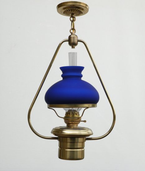 "#2 Brilliant, Polished Brass, Blue Satin Student Shade - 22"" Height"