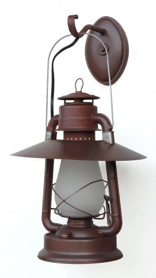 "#2 Champion, Hooded Reflector, Special Wall Mount, Brown Hammerrite, Frosted Glass, - About 21"" Tall"