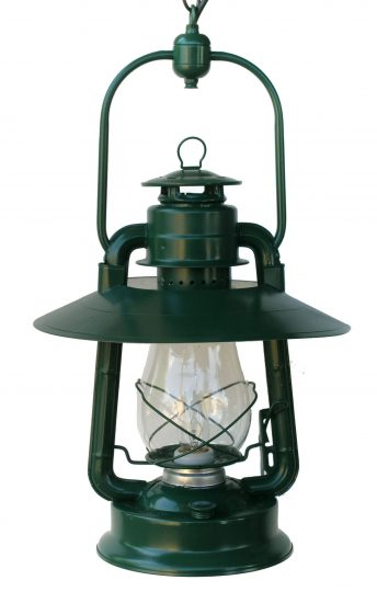 """#2 Champion, Top Concealed Bail, Hooded Reflector, Green, Frosted Globe - 20"""" Overall Height"""