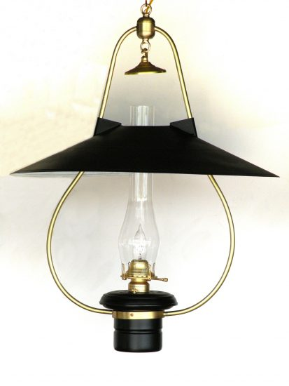 """#3 Brilliant, Black Hooded Reflector, Polished Brass - 22"""" Reflector - 30"""" Height"""