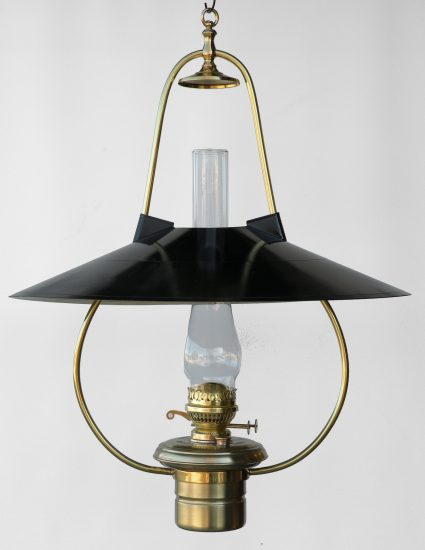 "#3 Brilliant Black Hooded Reflector, Polished Brass Finish - 22"" Reflector - 30"" Height"