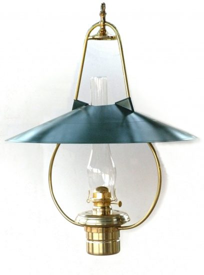 """#3 Brilliant, Green Hooded Reflector, Polished Brass - 22"""" Reflector, 30"""" Height"""