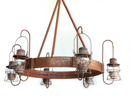 #999 J Hook Chandelier, Rusted