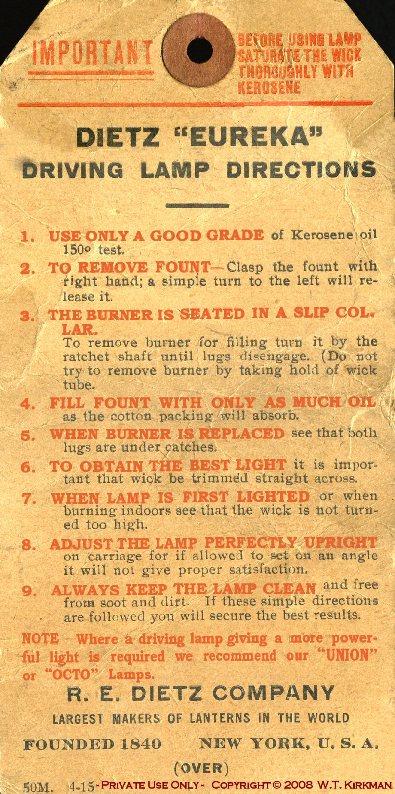 Eureka Driving Lamp Instructions