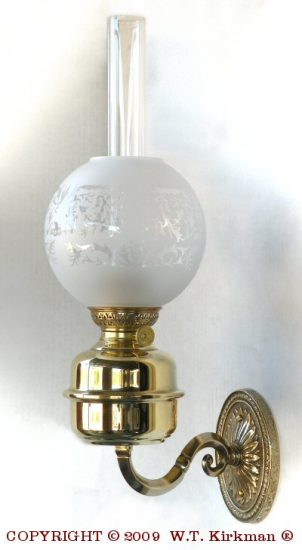 """Amie Wall Fixture with 6"""" Etched Ball Shade, Polished Brass, 18"""" Height"""