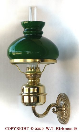 "Amie Wall Fixture with Green Shade, Polished Brass, 18"" Height"