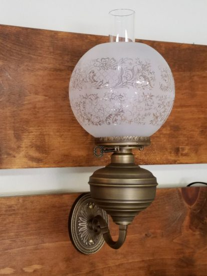 "Julian Wall Fixture, Patina Brass, with 8"" Etched Ball Shade"